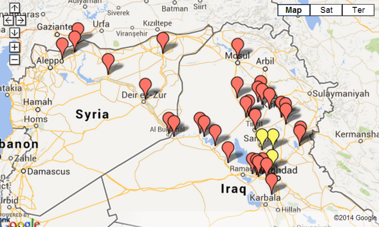 June - Isis location map in us