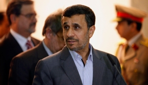 Iran's President Mahmoud Ahmadinejad meets with Iraq's Vice President Khudair al-Khuzaie during his visit in Baghdad