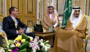 U.S. US Secretary of Defense Ashton Carter meets with Saudi Arabia's King Salman bin Abdul-Aziz Al Saud (R) at Al-Salam Palace in Jeddah, Saudi Arabia, July 22, 2015. (photo by REUTERS/Carolyn Kaster) Read more: http://www.al-monitor.com/pulse/originals/2015/08/saudi-king-washington-visit-iran-deal.html#ixzz3kPeQtHQK width=