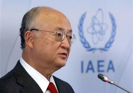 Director General of the International Atomic Energy Agency, IAEA, Yukiya Amano of Japan addresses the media during a news conference after a meeting of the IAEA board of governors at the International Center in Vienna, Austria, Monday, March 7, 2016. (AP Photo/Ronald Zak)