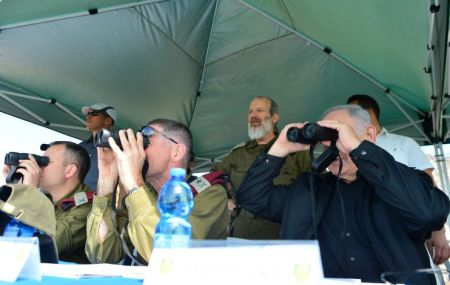 Israeli prime minister Benjamin Netanyahu seen during a security and defense tour in the Golan Heights, near the Northern Israeli border with Syria. April 11, 2016. Photo by Kobi Gideon/GPO *** Local Caption *** ??? ?????? ?????? ?????? ????? ?????? ?????. ????? ?????? ?????? ????? ?? ????? ??????? ???? ????? ?????? ?????? ?????