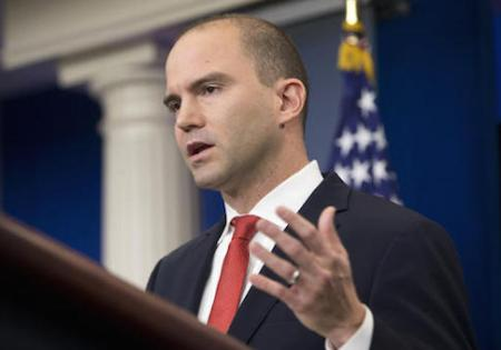 "FILE - In this Feb. 16, 2016 file photo Deputy National Security Adviser For Strategic Communications Ben Rhodes speaks in the Brady Press Briefing Room of the White House in Washington. The White House is working to contain the damage caused by a magazine profile of one of President Barack Obama's top aides. In a blog post published late Sunday, May 8, 2016, Rhodes said the public relations campaign he created to sell the Iran nuclear deal was intended only ""to push out facts."" Rhodes says outside groups that participated ""believed in the merits of the deal."" (AP Photo/Pablo Martinez Monsivais, File)"