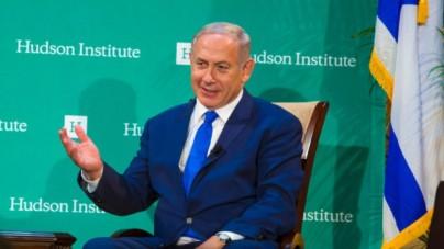 Prime Minister Benjamin Netanyahu speaking September 22 2016 at the Hudson Institute gala in New York City. (Rick Gilbert via JTA)