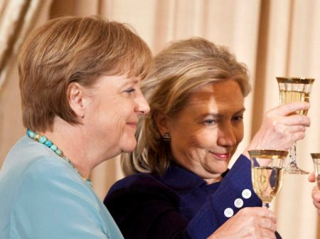 WASHINGTON - JUNE 7: (L-R) German Chancellor Angela Merkel, Secretary of State Hillary Rodham Clinton and Vice President Joseph R. Biden toast each other during a luncheon at the US State Department June 7, 2011 in Washington, DC. Secretary of State Hillary Rodham Clinton and Vice President Joseph R. Biden hosted German Chancellor Angela Merkel for a luncheon during her visit to Washington before tonight's State Dinner. (Photo by Brendan Smialowski/Getty Images)