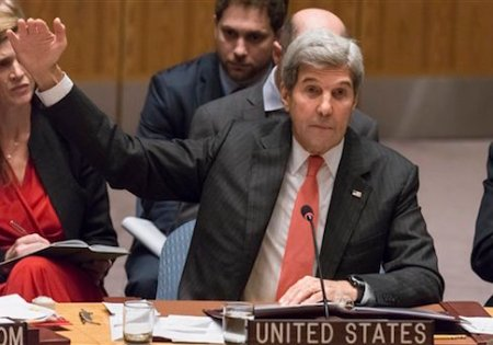 US Secretary of State John Kerry addresses the United Nations Security Council during an open, high-level debate regarding the ongoing Syrian crisis, at UN Headquarters in New York, NY, USA on September 21, 2016. The meeting, presided over by New Zealand's Prime Minister John Key, comes amid growing hostility between the United States and Russia over allegations of military operations conducted in the region. (Photo by Albin Lohr-Jones) *** Please Use Credit from Credit Field ***