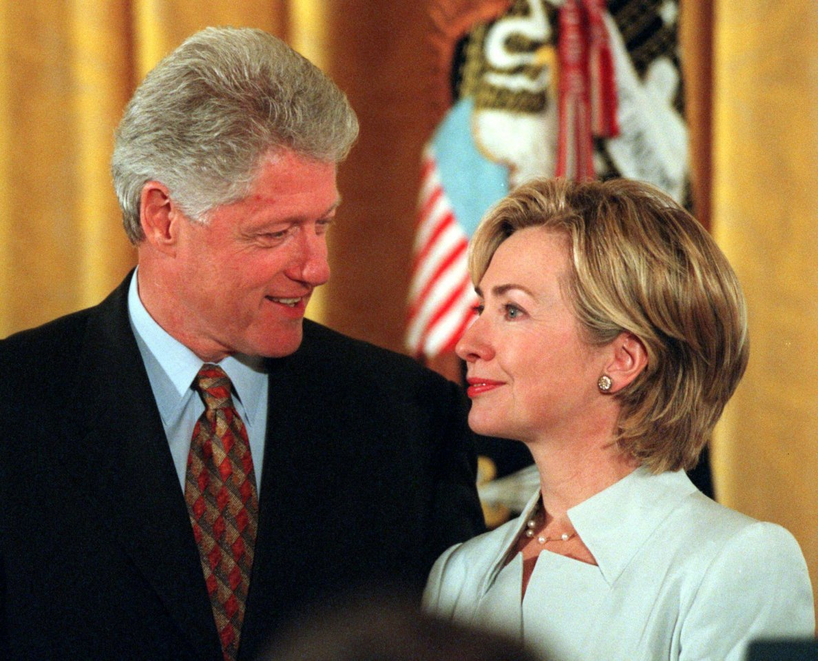 President Bill Clinton with First Lady Hillary Clinton during the Congressional Medal of Freedom ceremony in the east room of the White house. Picture taken Wednesday, August 11, 1999. (AP Photo/Virginian-Pilot, LAWRENCE JACKSON)