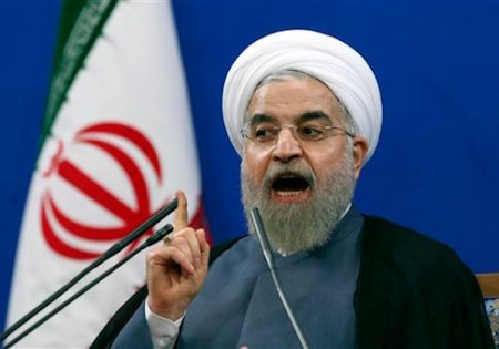 "Iranian President Hassan Rouhani speaks during a press conference on the second anniversary of his election, in Tehran, Iran, Saturday, June 13, 2015. Rouhani said a final nuclear deal is ""within reach"" as Iran and world powers face a June 30 deadline for an agreement. Rouhani said Iran will allow inspections of its nuclear facilities but vowed that the Islamic republic won't allow its state ""secrets"" to be jeopardized under the cover of international inspections. (AP Photo/Ebrahim Noroozi)"