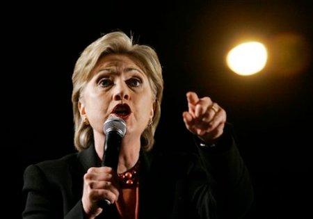 Democratic presidential hopeful, Sen. Hillary Rodham Clinton, D-N.Y., makes a campaign stop at Hemisfair Park, at the Arch, in San Antonio,Texas, Friday, Feb. 29, 2008. (AP Photo/Carolyn Kaster)