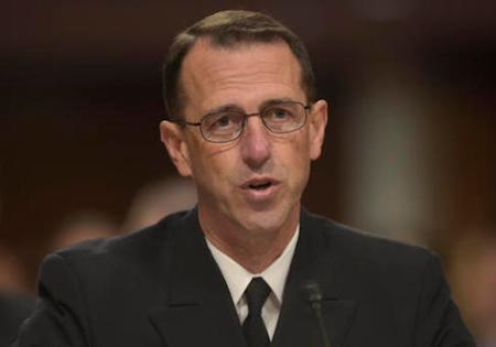 U.S. Chief of Naval Operations Adm. John Richardson testifies on Capitol Hill in Washington, Thursday, Sept. 15, 2016, before the Senate Armed Services Committee hearing on long-term budgetary challenges. (AP Photo/Susan Walsh)