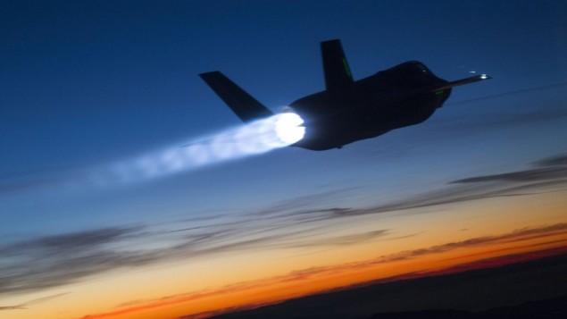 The F-35 Lightning II during a refueling test at dusk in January 2015. (Tom Reynolds/Lockheed Martin)