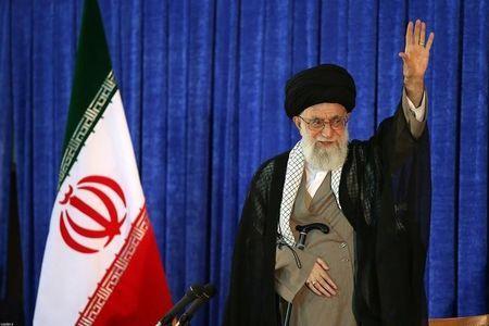 Iran's Supreme Leader Ayatollah Ali Khamenei waves as he gives a speech on Iran's late leader Khomeini's death anniversary, in Tehran