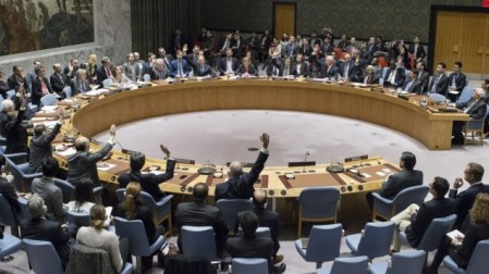 In this photo provided by the United Nations, members of the United Nations Security council vote at the United Nations headquarters on December 23, 2016, in favor of condemning Israel for its practice of establishing settlements in the West Bank and east Jerusalem. In a striking rupture with past practice, the US allowed the vote, not exercising its veto. (Manuel Elias/The United Nations via AP)