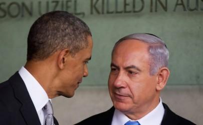 US President Barack Obama speaks with Israeli Prime Minister Benjamin Netanyahu during his visit to the Yad Vashem Holocaust Memorial museum on March 22, 2013, in Jerusalem, Israel. (Uriel Sinai/Getty Images/JTA)