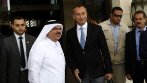 United Nations Middle East peace envoy Nikolay Mladenov (R) and Qatari Mohammed al-Amadi (2nd L), of the National Committee for the Reconstruction of Gaza, visit a project financed by Qatari company Al-Amadi on September 17, 2015 in Gaza City. (Mohammed Abed/AFP)