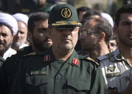 Head of Iran's Revolutionary guards ground forces Pakpour attends a funeral ceremony in Tehran