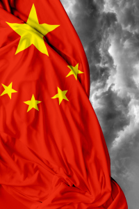 China waving flag on bad day