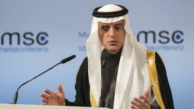 Saudi Arabia's foreign minister, Adel bin Ahmed Al-Jubeir, speaks on the last day of the Munich Security Conference in Munich, Germany, Sunday Feb. 19, 2017. (Matthias Balk/dpa via AP)
