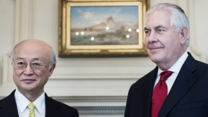 International Atomic Energy Agency (IAEA) Director General Yukiya Amano (L) and US Secretary of State Rex Tillerson wait for a meeting at the US Department of State on March 2, 2017 in Washington, DC. (AFP PHOTO / Brendan Smialowski)