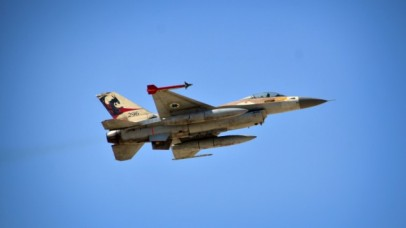 Illustrative: An IAF F-16 from the Red Dragon squadron during a drill, November 2013. (IDF Spokesperson's Unit/Flash90)