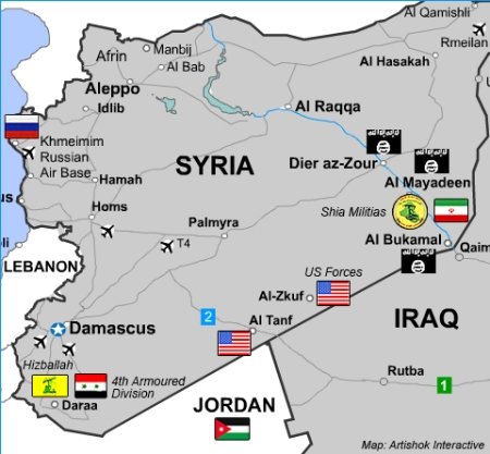 New US Base In S Syria For Tussle Over Control - Map of us bases around iraq