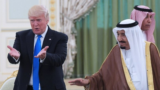 US President Donald Trump, left and Saudi Arabia's King Salman bin Abdulaziz al-Saud gesture during a signing ceremony at the Saudi Royal Court in Riyadh on May 20, 2017. (AFP Photo/Mandel Ngan)