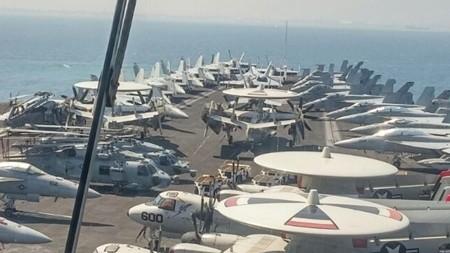 The flight deck of USS George H.W. Bush off the coast of Haifa, July 1, 2017 (Momi Gabay/Haifa Port Authority)