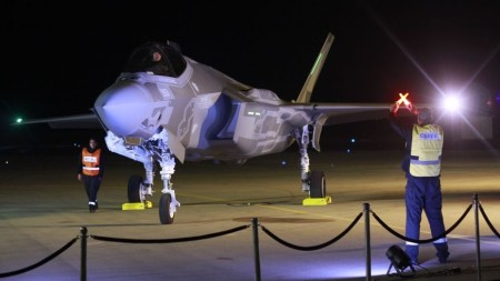An F-35 fighter jet lands in the Nevatim air base in southern Israel on December 12, 2016. (Judah Ari Gross/Times of Israel)