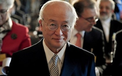 International Atomic Energy Agency (IAEA) director general Yukiya Amano delivers a speech during a meeting at Accademia dei Lincei in Rome on October 9, 2017. (AFP/ TIZIANA FABI)