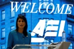 U.S. Ambassador to the United Nations Nikki Haley speaks about the Iran nuclear deal at the American Enterprise Institute inWashington