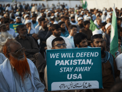 Supporters of the Pakistan Defense Council, an alliance of hardline Islamist religious leaders and politicians, gather during an anti-U.S protest in Islamabad on August 27, 2017. Pakistan's political, religious and military leaders have rejected President Donald Trump's allegation that Islamabad is harboring militants who battle U.S. forces in Afghanistan. / AFP PHOTO / FAROOQ NAEEM (Photo credit should read FAROOQ NAEEM/AFP/Getty Images)