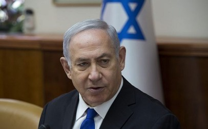 Prime Minister Benjamin Netanyahu leads the weekly cabinet meeting at the Prime Minister's Office in Jerusalem, on April 29, 2018. (Amit Shabi/Pool/Flash90)