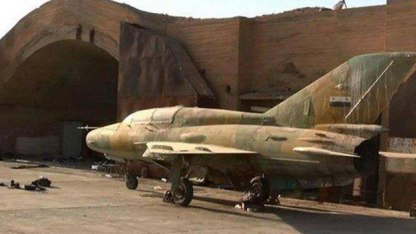 A Syrian jet at the Dabaa military airbase