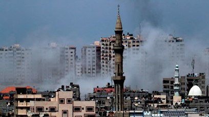 The IDF attacked some 30 terror targets around the strip Tuesday (Photo: AFP)