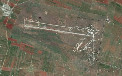 The al-Qusayr military air base in western Syria. (Google Earth)
