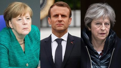 Trump not only rejected Merkel, Macron and May's claims in favor of the agreement, he also scolded them like a teacher scolding slow-witted students (Photo: EPA, Reuters)