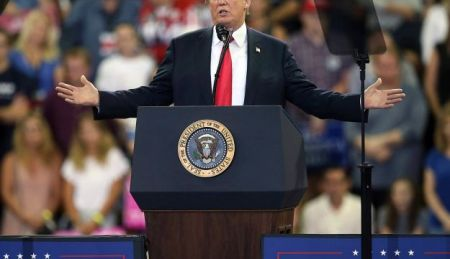 U.S. President Donald Trump speaks at a campaign rally, Wednesday, June 20, 2018, in Duluth, Minn.