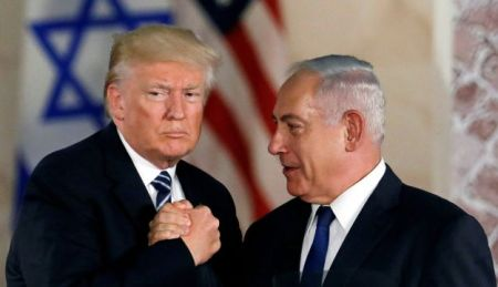 U.S. President Donald Trump and Israeli Prime Minister Benjamin Netanyahu shake hands after Trump's address at the Israel Museum in Jerusalem May 23, 2017.