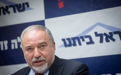 Defense Minister Avigdor Liberman leads a Yisrael Beytenu faction meeting in the Knesset, June 4, 2018. (Miriam Alster/Flash90)