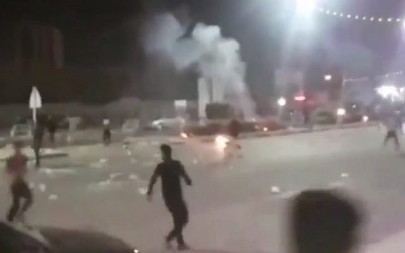 A still from video shared on social media showing protests in the Iranian city of Khorramshahr on June 30, 2018. (screen capture: Twitter/BBC)