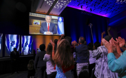 PM Netanyahu addresses a summit of Christians United for Israel in Washington, DC, July 23, 2018. (Twitter)