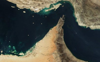 Satellite view of the Strait of Hormuz (photo credit: NASA/Public domain)