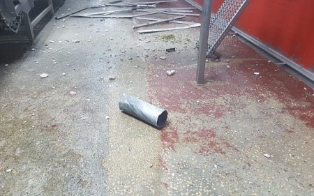 A rocket fired from the Gaza Strip that struck a factory in the Sha'ar Hanegev region of southern Israel on August 8, 2018. (Israel Police)