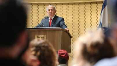 Prime Minister Benjamin Netanyahu speaks at a memorial ceremony on September 20, 2018.