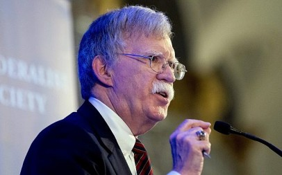 US National Security Adviser John Bolton speaks at a Federalist Society luncheon at the Mayflower Hotel, Monday, Sept. 10, 2018, in Washington. (AP Photo/Andrew Harnik)
