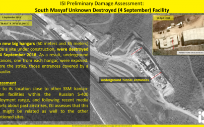 Satellite image showing the result of a an airstrike on a military facility in Syria, September 4, 2018. (ImageSat International)