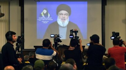 Nasrallah delivering his speech  (Photo: EPA)