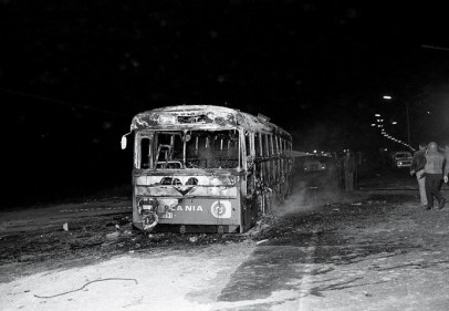 A damaged bus near Tel Aviv, Israel