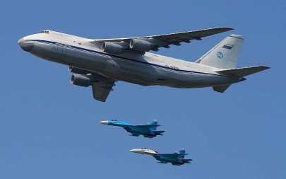An An-124 100 aircraft photographed in May 2010 at a Moscow Victory Day Parade. (Wikimedia, Sergey Kustov, CC BY-SA 3.0)