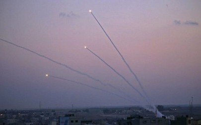 A picture taken from the Gaza Strip on November 12, 2018 shows missiles being launched toward Israel. (Said KHATIB / AFP)