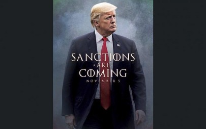 This image taken from the Twitter account of President Donald J. Trump @realDonaldTrump, shows what looks like a movie-style poster that takes creative inspiration from the TV series 'Game of Thrones' to announce the re-imposition of sanctions against Iran.  Trump tweeted a photo of himself with the words 'Sanctions are Coming' Nov. 5. The US sanctions on Iran had been lifted under a 2015 nuclear pact, but they are taking effect on Monday.  (Donald J. Trump Twitter account via AP)